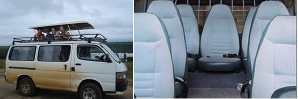 Marangu Tour Van with pop up roof game viewing drives